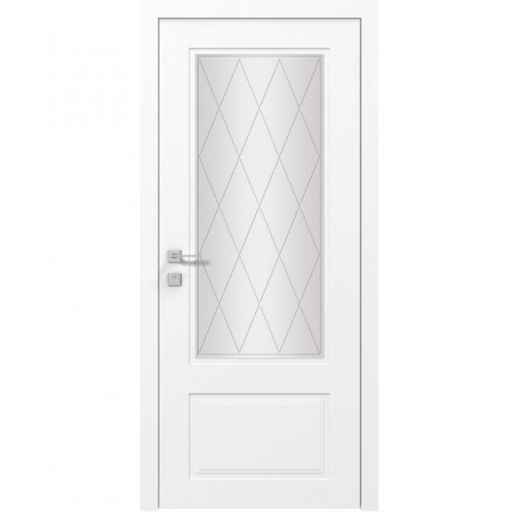 Межкомнатные двери Rodos Cortes Galant стекло №7 белая эмаль